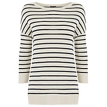 Buy Warehouse Stripe Integral Rib Top, Blue/White Online at johnlewis.com