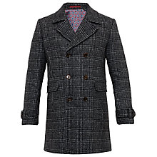 Buy Ted Baker Watts Checked Double-Breasted Overcoat, Charcoal Online at johnlewis.com