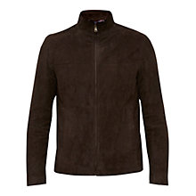 Buy Ted Baker Gregg Suede Leather Jacket, Chocolate Online at johnlewis.com