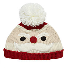 Buy John Lewis Children's Knitted Santa Hat, Red Online at johnlewis.com