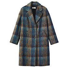 Buy Toast Brushed Wool Mohair Coat, Teal/Ochre Online at johnlewis.com