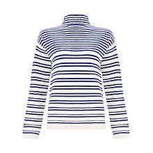 Buy Finery Glenmore High Neck Block Stripe Jumper, Blue/White Online at johnlewis.com