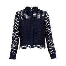 Buy Whistles Penny Crop Lace Shirt, Navy Online at johnlewis.com