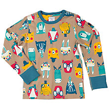 Buy Polarn O. Pyret Boy's Woodland Faces Print Top, Brown Online at johnlewis.com