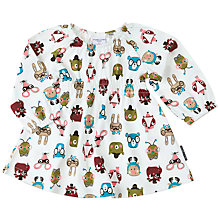Buy Polarn O. Pyret Baby Animal Faces Dress, White Online at johnlewis.com