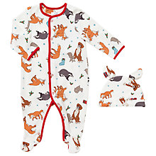 Buy John Lewis Baby Buster the Boxer Sleepsuit and Hat, White/Multi Online at johnlewis.com