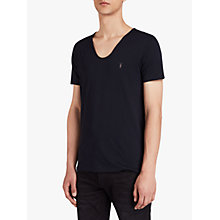 Buy AllSaints Slim Fit Tonic Scoop Low Neck T-Shirt, Ink Navy Online at johnlewis.com