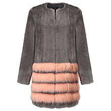 Buy Unreal Fur Tundra Coat, Charcoal/Peach Online at johnlewis.com
