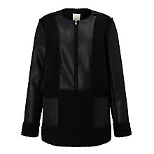 Buy Numph Ruzena Faux Shearling Jacket, Caviar Online at johnlewis.com