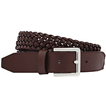 Buy Reiss Tower Plaited Leather Belt, Oxblood Online at johnlewis.com