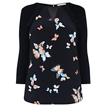 Buy Oasis Butterfly Blouse, Black Online at johnlewis.com