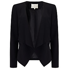 Buy Jacques Vert  Crepe Drape Front Jacket, Black Online at johnlewis.com
