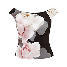 Buy Ted Baker Tabori Porcelain Rose Bardot Top, Black Online at johnlewis.com