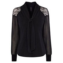 Buy Karen Millen Tie Neckline Top, Black Online at johnlewis.com