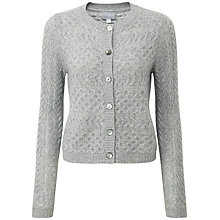 Buy Pure Collection Bennett Lofty Cable Cardigan, Heather Grey Online at johnlewis.com