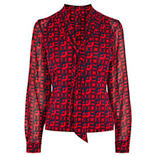 Buy Karen Millen Fashion Geo Print Top, Red/Multi Online at johnlewis.com