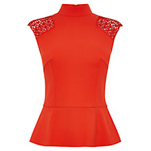 Buy Karen Millen Lattice Detail Top, Red Online at johnlewis.com
