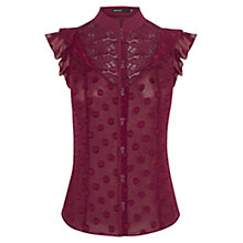 Buy Karen Millen Sleeveless Blouse, Aubergine Online at johnlewis.com