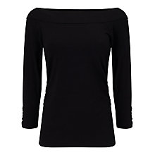 Buy Jacques Vert Jersey Bardot Top, Black Online at johnlewis.com