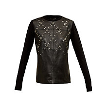 Buy Ted Baker Lucreza Leather Mix Embellished Jumper, Black Online at johnlewis.com