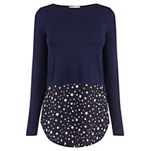 Buy Oasis Star Hem Crepe Top, Navy Online at johnlewis.com