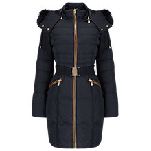 Buy Phase Eight Faux Fur Trim Paula Puffer Coat, Navy Online at johnlewis.com