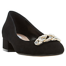 Buy Dune Beebie Jewelled Block Heeled Court Shoes, Black Suede Online at johnlewis.com