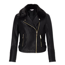 Buy Miss Selfridge Petite Faux Fur Collar Jacket, Black Online at johnlewis.com