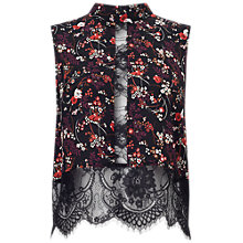 Buy Miss Selfridge Floral Lace High Neck Top, Black/Multi Online at johnlewis.com