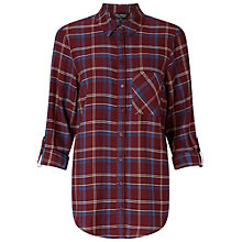 Buy Miss Selfridge Split Check Shirt, Burgundy Online at johnlewis.com
