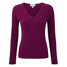 Buy Pure Collection Grady Cashmere V-Neck Jumper, Berry Fleck Online at johnlewis.com