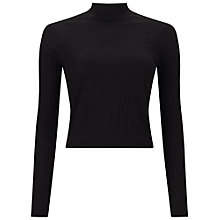 Buy Miss Selfridge Turtle Neck Crop Top, Black Online at johnlewis.com