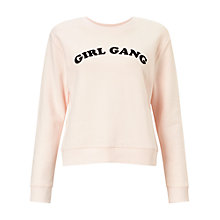 Buy Miss Selfridge Petite Girl Gang Sweatshirt, Pink Online at johnlewis.com