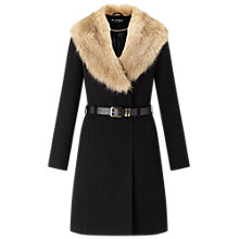 Buy Miss Selfridge Fit and Flare Coat, Black Online at johnlewis.com