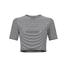 Buy Miss Selfridge Petite Stripe Top, Black Online at johnlewis.com