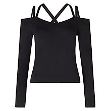 Buy Miss Selfridge Multi Strap Top, Black Online at johnlewis.com