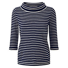 Buy Pure Collection Maison Cashmere Bardot Jumper, Navy/Iced Grey Online at johnlewis.com