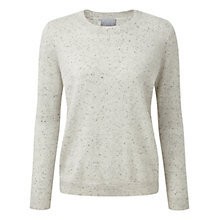 Buy Pure Collection Cara Cashmere Relaxed Crew Neck Jumper, Heather Grey Fleck Online at johnlewis.com