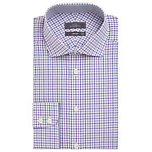 Buy John Lewis Non Iron Cotton Tailored Fit Check Shirt, Blue/Pink Online at johnlewis.com