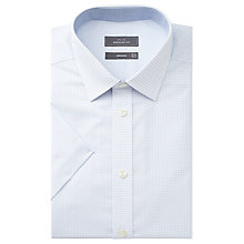 Buy John Lewis Dobby Cotton Regular Fit Short Sleeve Shirt, White Online at johnlewis.com