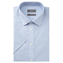Buy John Lewis Melange Cotton Regular Fit Short Sleeve Shirt, Blue Online at johnlewis.com