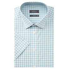 Buy John Lewis Check Short Sleeve Regular Fit Shirt, Aqua Online at johnlewis.com