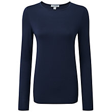 Buy Pure Collection Alessandra Soft Jersey Crew Neck Top, Navy Online at johnlewis.com
