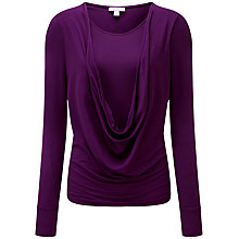 Buy Pure Collection Eliana Deep Cowl Top, Amethyst Online at johnlewis.com