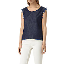 Buy All Saints Bloom Denim Top, Dark Indigo/Blue Online at johnlewis.com