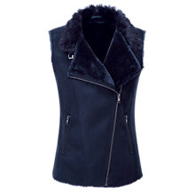 Buy Pure Collection Mallory Faux Shearling Gilet, Navy Online at johnlewis.com