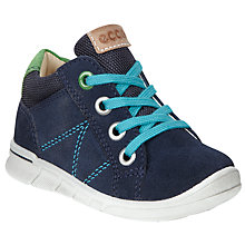 Buy ECCO Children's Lace-Up Suede Logo Shoes Online at johnlewis.com