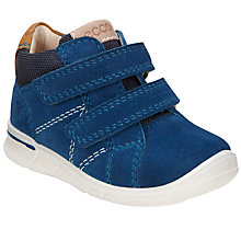 Buy ECCO Children's Suede Rip-Tape Logo Shoes, Marine Online at johnlewis.com