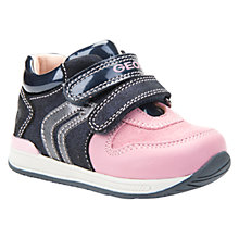 Buy Geox Children's B Rishon Double Riptape Shoes, Navy/Pink Online at johnlewis.com