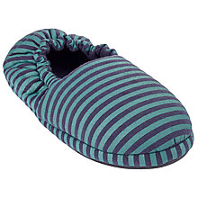 Buy John Lewis Children's Stripe Jersey Slippers, Navy/Green Online at johnlewis.com